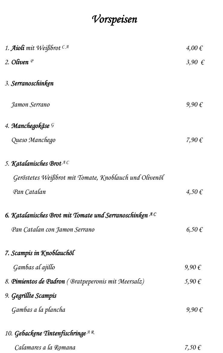 spanier harenberg speisekarte